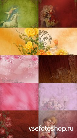 Vintage Background With Flowers JPG Files