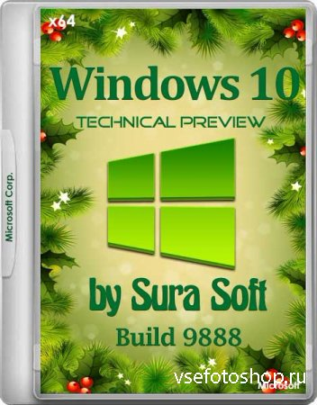 Windows 10 Technical Preview 9888 by Sura Soft (x64/RUS/ENG/2014)