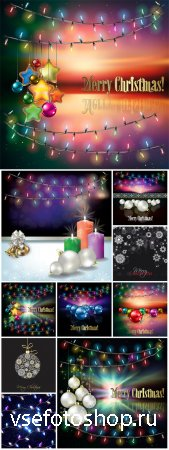 Christmas and new year holidays vector backgrounds