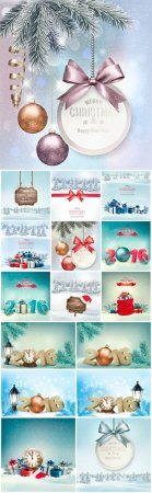Holiday Christmas background with gift boxes and landscape
