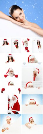 Christmas people with banners - Stock photo