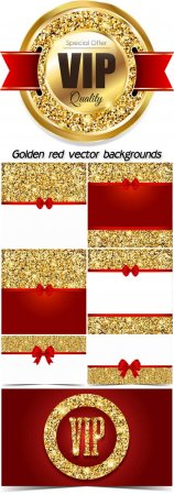 Golden red vector backgrounds and VIP cards