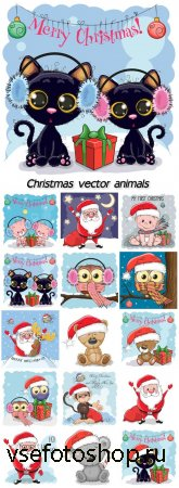 Christmas vector animals, Santa Claus