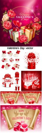 Valentine's Day, vector gifts, hearts and roses