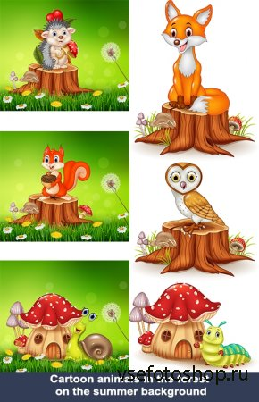 Сartoon animals in the forest on the summer background | Мультяшные животны ...