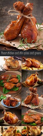 Roast chicken and shin spices and greens