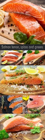 Salmon lemon, spices and greens