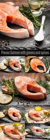 Pieces Salmon with greens and spices