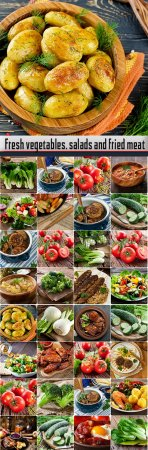 Fresh vegetables, salads and fried meat