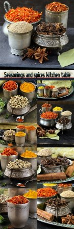 Seasonings and spices kitchen table