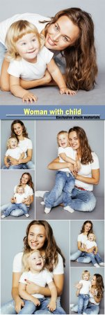 Woman with child in jeans and a white T-shirt