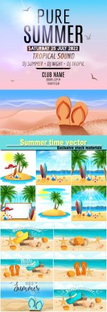 Summer time, marine leisure, backgrounds vector