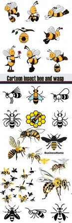 Cartoon insect bee and wasp