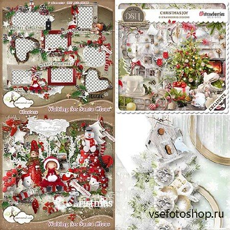 Scrap set - Silent Christmas / Strawberries christmas Joy / Waiting Santa Claus