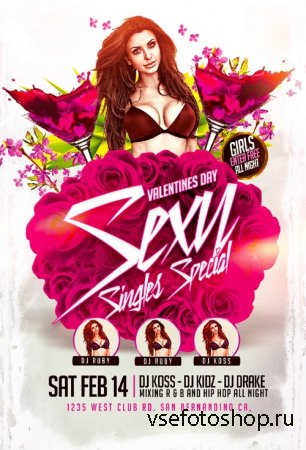 Sexy Singles Special psd flyer template